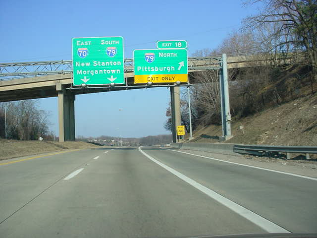 Interstate 70 East at Exit 18 - Interstate 79 North