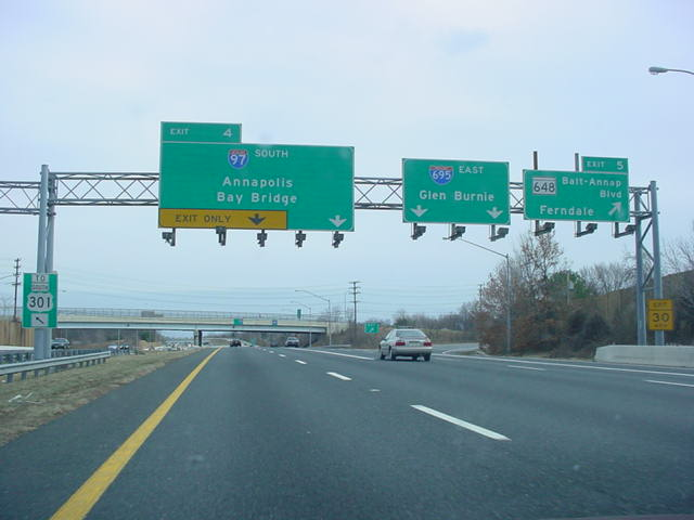 Interstate 695 East at Exit 5 - MD 648, and Exit 4 - Interstate 97