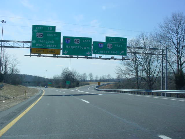 Interstate 70 East at Exit 1A - Interstate 68 West