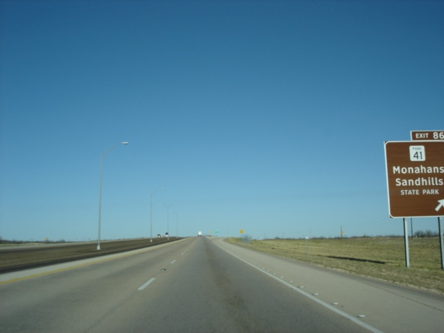 Interstate 20 East at Exit 86 - Park 41 - Monahans Sandhills State Park.