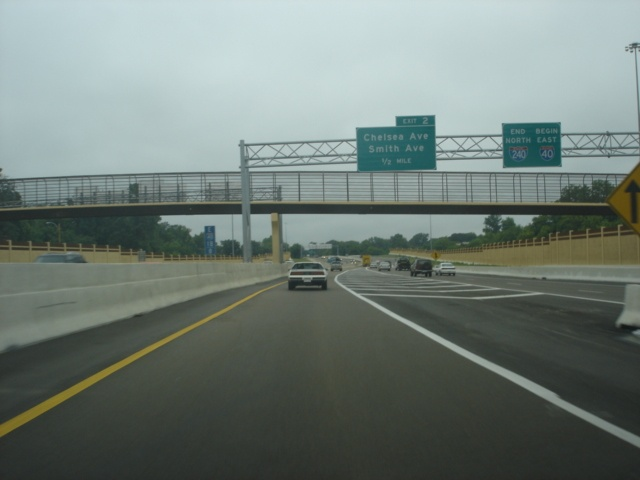 Interstate 40 East approaching Exit 2