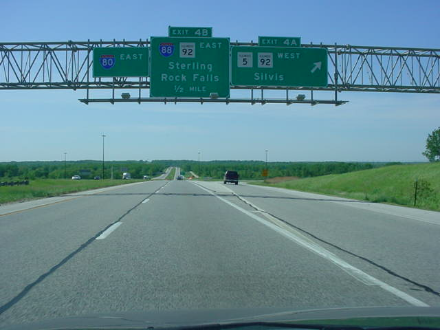 Interstate 80 East at Exit 4A - IL 5/IL 92 West