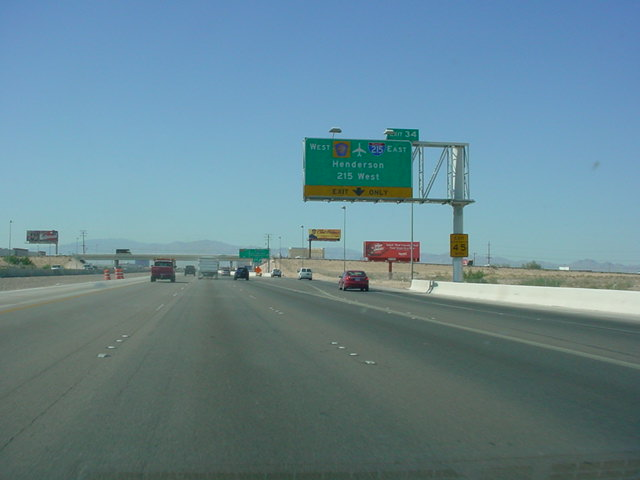 Interstate 15 North at Exit 34 - Interstate 215/Clark County 215