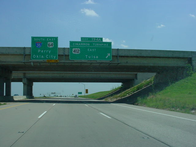 Interstate 35 South at Exit 194A - U.S. 412/Cimarron Turnpike East