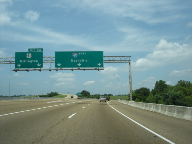 Interstate 40 East at Exit 2A - U.S. 51