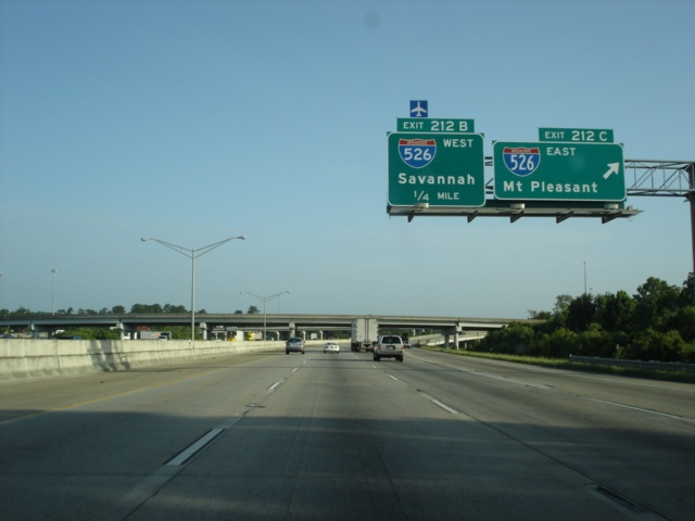 Interstate 26 West at Exit 212C - Interstate 526 East