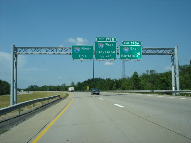 Interstate 79 North at Exit 178A - Interstate 90 East