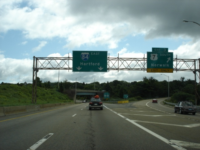 Interstate 84 East at Exit 3 - U.S. 7 South