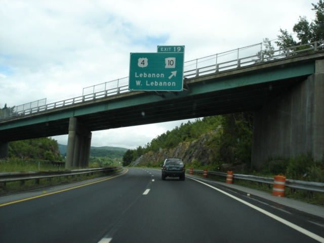 Interstate 89 South at Exit 19 - U.S. 4/New Hampshire 10