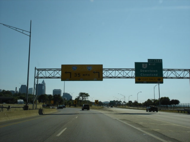 Interstate 90 and Ohio 2 West at Exit 174B - Ohio 2 West
