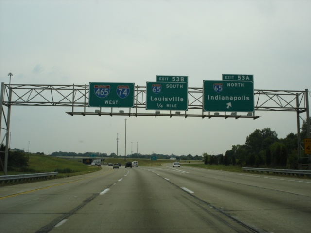 Interstate 74/Interstate 465 West at Exit 53A - Interstate 65 North