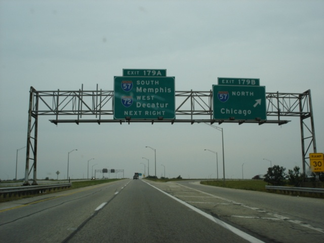 Interstate 74 West at Exit 179B - Interstate 57 North