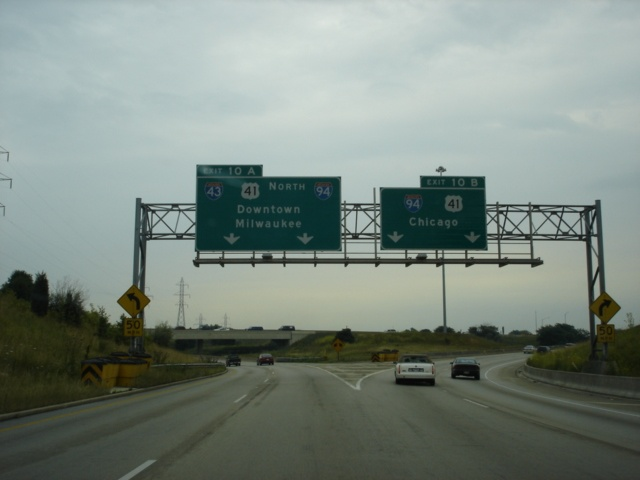 Interstate 43 North and Interstate 894 East at Exit 10A - Interstate 43/U.S. 41 North/Interstate 94 West