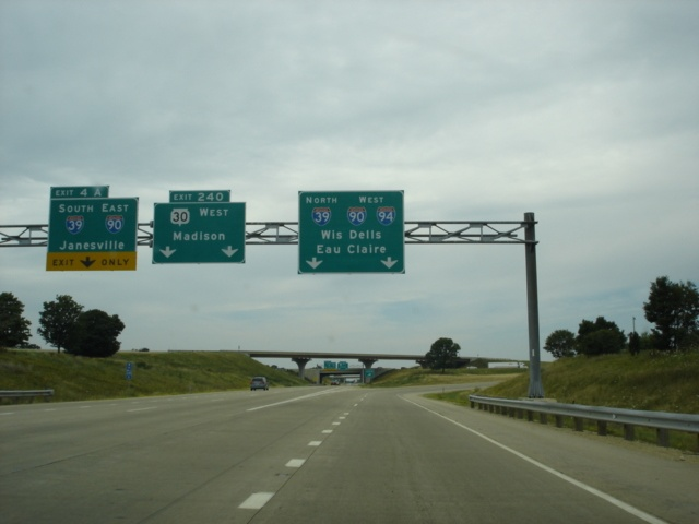 Interstate 94 West at Exit 240 - Wisconsin 30 West
