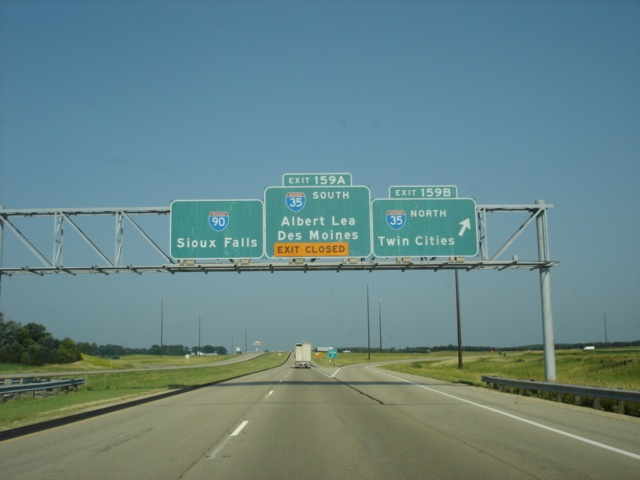 Interstate 90 West at Exit 159B - Interstate 35 North
