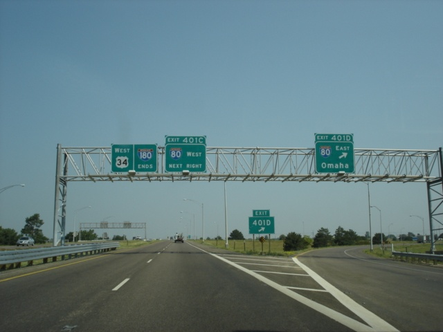 Interstate 180 North and U.S. 34 West at Exit 401D - Interstate 80 East