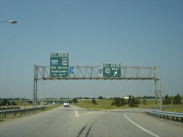 Interstate 80 West and U.S. 77 South at Exit 401B - U.S. 34 West