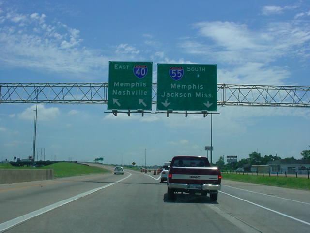 Okroads arkansas highway guides interstate 55 interstate 40 eastinterstate 55 south at unmarked exit 279b interstate 55 south memphisjackson mississippi photo taken 71504 publicscrutiny Images