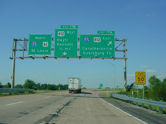 Okroads missouri highway guides interstate 55 interstate 55 north at exit 17a interstate 155us 412 east caruthersville dyersburg tn the sign for the next exit us 412 west has an interstate publicscrutiny Images