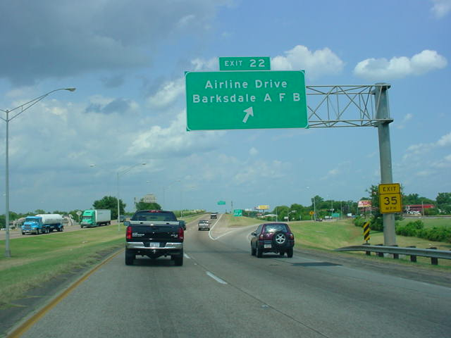 Interstate 20 East at Exit 22 - Airline Drive/ Barksdale AFB.