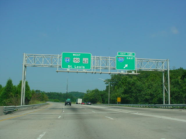 Interstate 64, U.S. 150, and Indiana 62 West at Exit 121 - Interstate 265 East