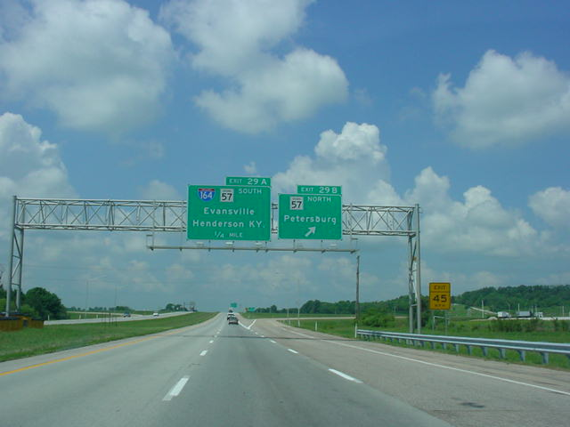 Interstate 64 West at Exit 29B - IN 57 North