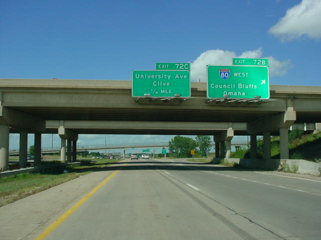 Interstate 35 North at Exit 72B - Interstate 80 West