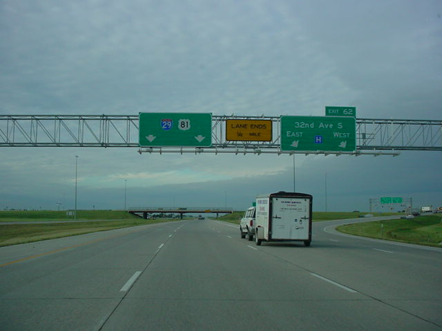 Interstate 29 and U.S. 81 South at Exit 62 - 32nd Ave S