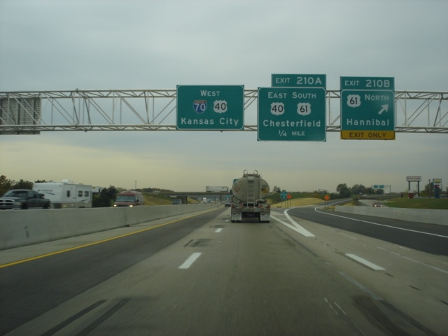 Interstate 70 West at Exit 210B - U.S. 61 North