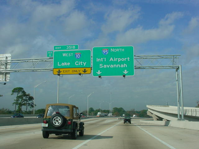 Interstate 95 North at Exit 351B - Interstate 10 West